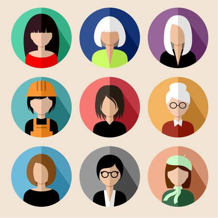 circulo de personas: Conjunto de iconos planos redondos con las mujeres.