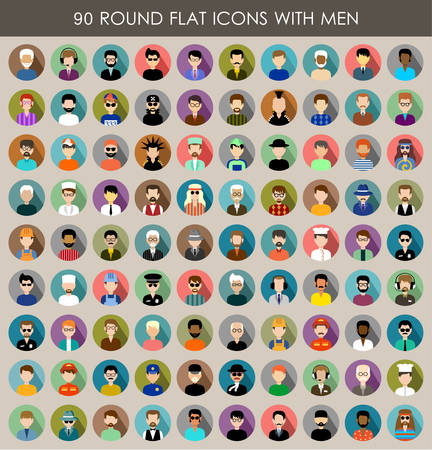 male face profile: Set of round flat icons with men.