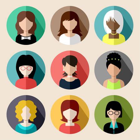 žena: Sada kulatých plochých ikon s ženami. Ilustrace