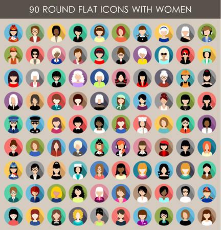 Zestaw okrągłych płaskich ikon z kobiet. Ilustracja