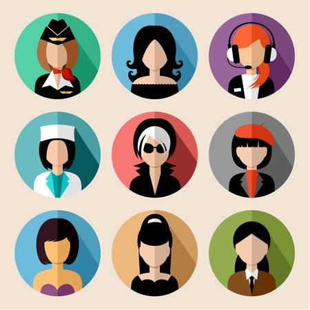 stewardess: Image of flat round icons with women of different species.  vector illustration