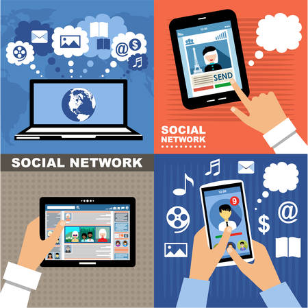 The concept of social networks, blogs and online communication. Vector illustration Ilustracja
