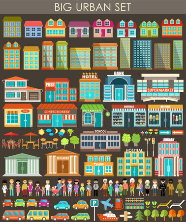 A large set of buildings, transport, urban trees and plants. Vector illustration