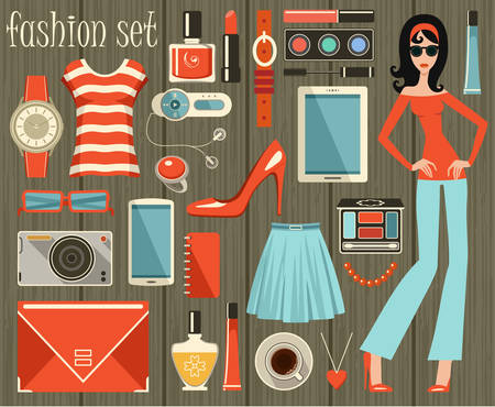 Fashion vector set in a style flat design. Vector illustration Vector