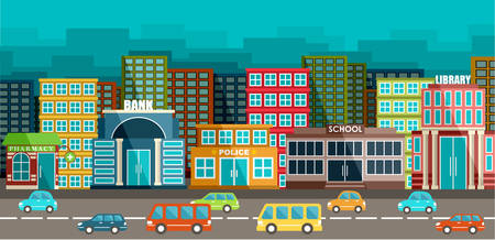 school building: City and road in the style of flat design. Vector illustration