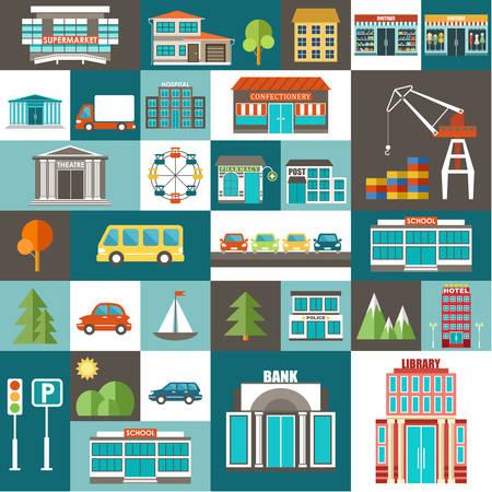 cityscape: City set. Illustration