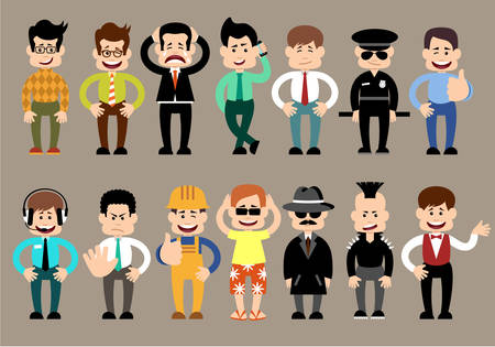 policia caricatura: Conjunto de hombres de diferentes personajes, plantea.
