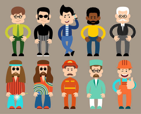 hippies: Vector set of flat men different professions.  Vector illustration