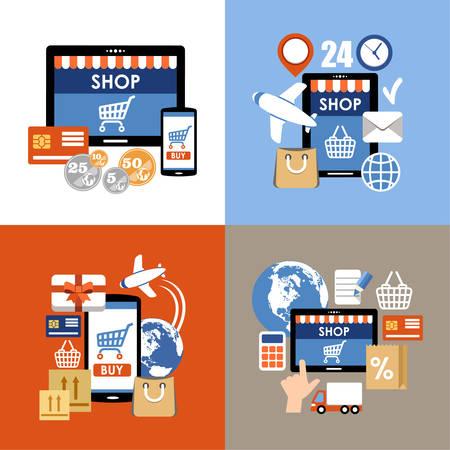 shop online: Internet shopping, e-commerce, online shopping set.