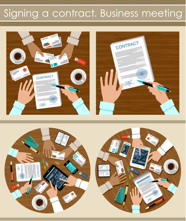 contract signing: Signing a contract. Business meeting. Illustration