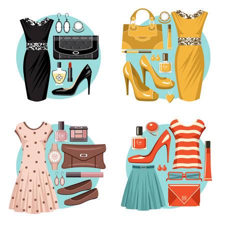 fashion set: Fashion set in a style flat design.  Vector illustration