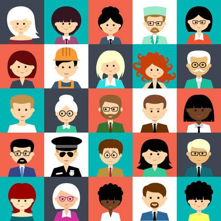 Afbeelding van vlakke pictogrammen met mensen van verschillende soorten. Vector illustratie