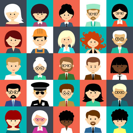 Image of flat icons with people of different species. Vector illustration Ilustracja