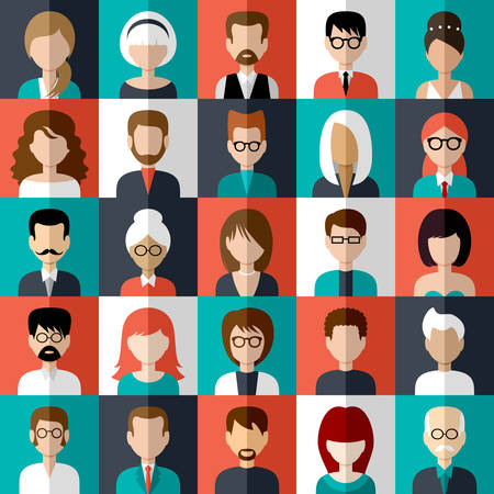 Image of flat icons with people of different species. Vector illustration Vettoriali