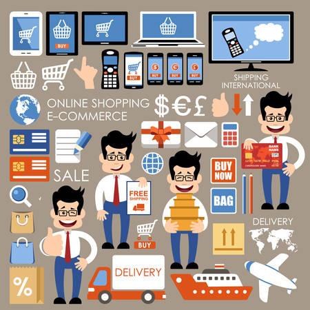 internet shopping: Internet shopping, e-commerce, online shopping set.  Vector illustration