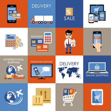shopping sale: Internet shopping, e-commerce, online shopping set icons.Vector illustration