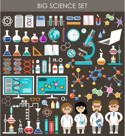 physics: Big science set. Infographics. Illustration