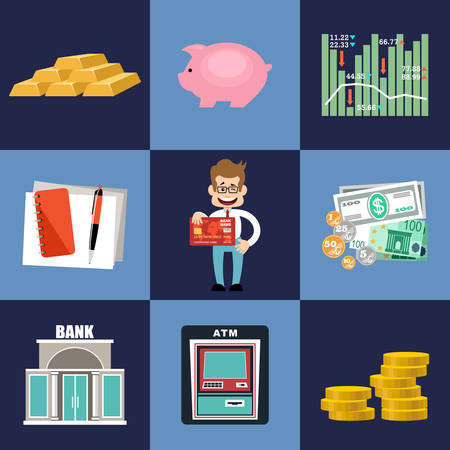 set of money: Finance & banking set. Money, finance.vector illustration