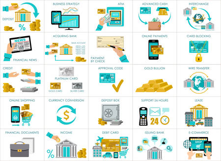 acquirer: Big bank set. vector, containing illustrations of the banking operations