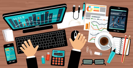 workspace: Flat design of office workspace, workplace of a businessman. Vector illustration