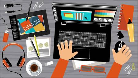 creador: Diseño plano del espacio de trabajo creativo oficina, lugar de trabajo de un diseñador. Ilustración vectorial