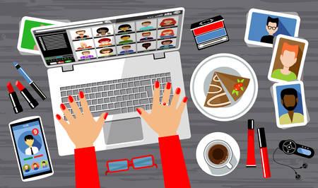 Social networking  Virtual communication. Vector illustration 일러스트