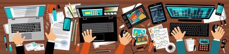 pr: Flat design office of advertising agency. Workplace PR manager, designer and manager. Vector illustration Illustration