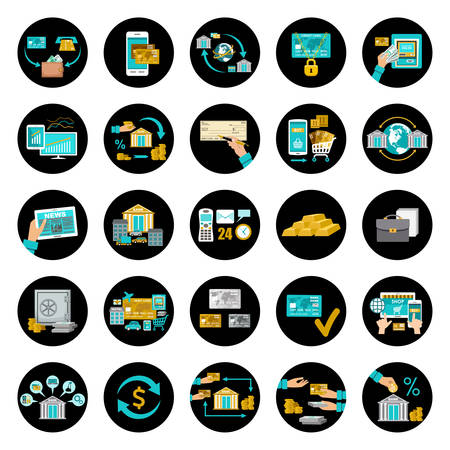 acquirer: Seth banking icons, containing illustrations of the banking operations. Vector illustration