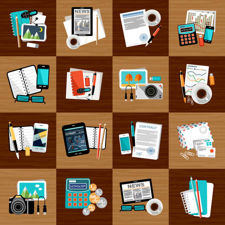 signing papers: Business workplace with office things.Vector illustration Illustration