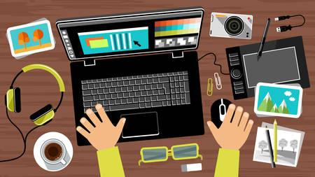 creator: Flat design of creative office workspace, workplace of a designer. Vector illustration Illustration