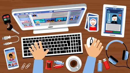 Les réseaux sociaux de communication virtuelle. Vector illustration