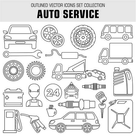 car care center: Image set of outline icons on the theme of autoservice, gas stations, tire