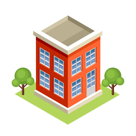 apartment house: Image isometric apartment house, standing on the grass. Vector illustration Illustration
