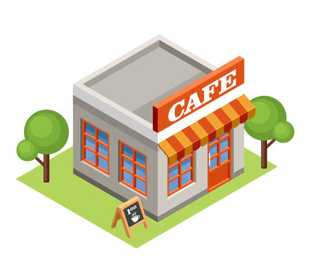 Image isometric cafe, standing on the grass. Vector illustration Çizim