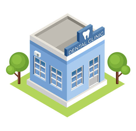 dental health: Image isometric dental clinic, standing on the grass. Vector illustration