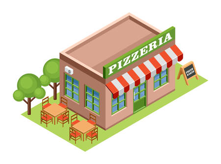 houses street: Image isometric pizzeria, standing on the grass. Vector illustration