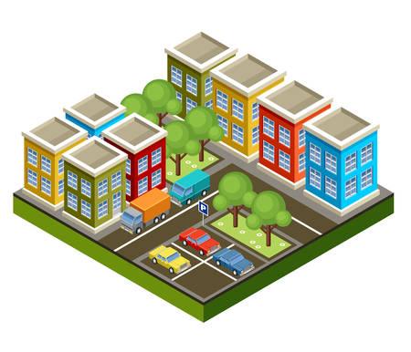 road traffic: Image isometric city Illustration