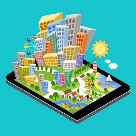 buildings vector: 3d isometric city with the specified destination point on the tablet screen. City navigation app. Vector illustration