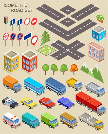 isometric car set with road 일러스트