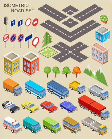 isometric car set with road Ilustracja