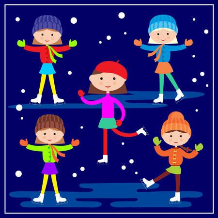 sports girl: Little girls skating on the blue background