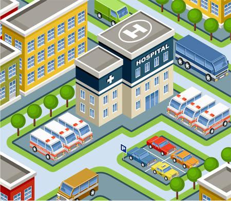 ambulancia: hospital ilustración isométrica Vectores