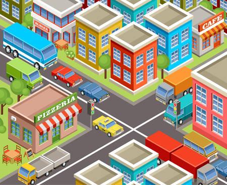 Afbeelding isometrisch stad Stock Illustratie