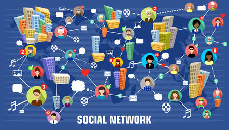 network map: Social network concept Illustration