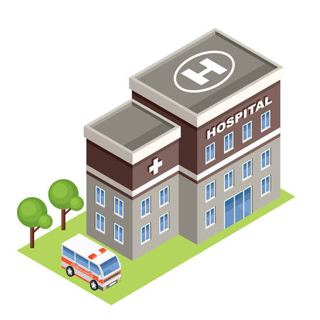 hospital cartoon: isometric hospital