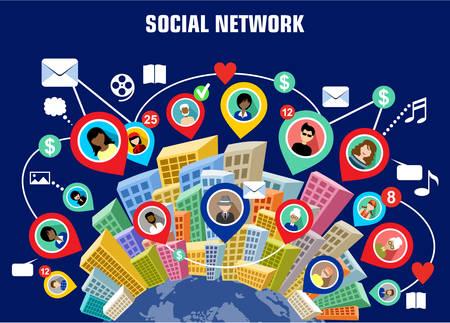 Social network concept  イラスト・ベクター素材