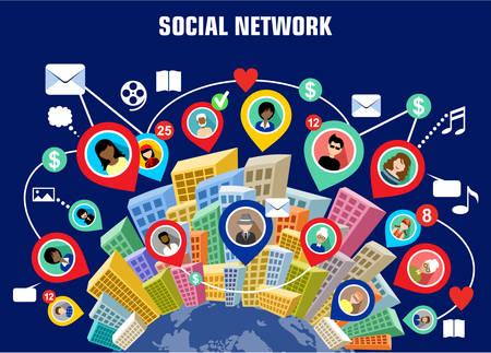 Social network concept Stock Illustratie
