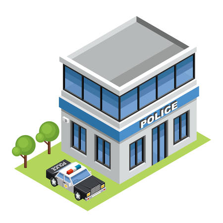 building icon: isometric police station illustrations
