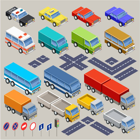 street intersection: isometric vector car set with road