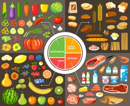 food and beverages: Set of products for healthy food Illustration